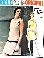 RARE Patou 1960s Mod Dress Pattern VOGUE Paris Original 2302 Unique Details Day or Cocktail Party Dress Bust 34 Vintage Sewing Pattern UNCUT