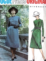 1970s Classy GIVENCHY Dress Pattern VOGUE Paris Original 2474 MIDI length Jewel Neckline Daytime or After 5 Elegant Dress  Bust 34 Vintage Sewing Pattern