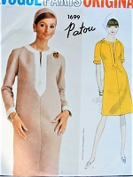 1960s CLASSY Patou Semi Fitted Dress Pattern VOGUE Paris Original 1699 Caftan Slit Neckline, Raglan Sleeves, Slightly A Line Easy Elegance Bust 34 Vintage Sewing Pattern