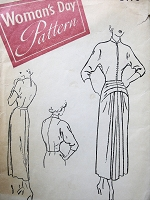1940s PEG NEWTON Stunning Dress and Jacket Pattern WOMANS DAY 3176 Figure Flattering Draped Dress and Short Fitted Jacket Day or Evening Bust 32 Vintage Sewing Pattern