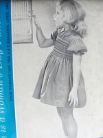 1950s Vintage ADORABLE Girls SMOCKED Dress with Scalloped Collar Woman's Day Pattern 5028 Sweet Smocking Chest 26 Sewing Pattern