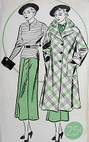 1930s  ART DECO Top,Skirt and Swagger Coat Pattern WOMANS WORLD 5901 Fabulous Flared Coat, Bette Davis Style Over Blouse and Skirt Bust 40 Vintage Sewing Pattern FACTORY FOLDED