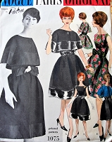 1960s BEAUTIFUL Patou Evening Cocktail Party Dress and Bolero Jacket Pattern VOGUE Paris Original 1075 Figure Flattering Style Bust 31 Vintage Sewing Pattern FACTORY FOLDED