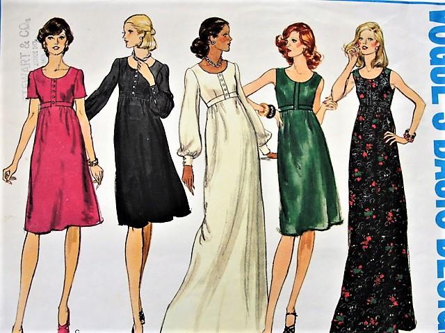 1960s BOHO High Waisted A-Line Dress Vogue 1096 Bust 36 Vintage ...