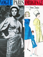 1960s Stunning JEAN DESSES Cocktail Evening Dress and Jacket Pattern VOGUE PARIS ORIGINAL 1154 Bateau Neckline Draped Bodice Sailor Collar Jacket Bust 32 Vintage Couture Sewing Pattern UNCUT +Label