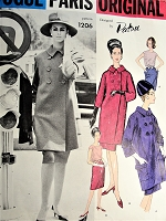 1960s CLASSY Patou Suit and Blouse Pattern VOGUE Paris Original 1206 Elegant Seven Eighths Length Jacket Coat, Slim Skirt,Tuck In Blouse Daytime or Dinner Suit Bust 31 Vintage Sewing Pattern