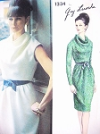 1960s CLASSY Slim Cowl Draped Dress Pattern VOGUE PARIS ORIGINAL 1334 Guy Laroche Daytime or Cocktail Evening Dress Bust 38 Vintage Sewing Pattern