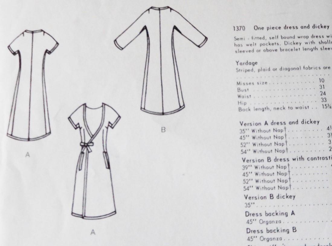 1960s NINA RICCI Dress and Dickey Pattern VOGUE Paris Original 1370 ...