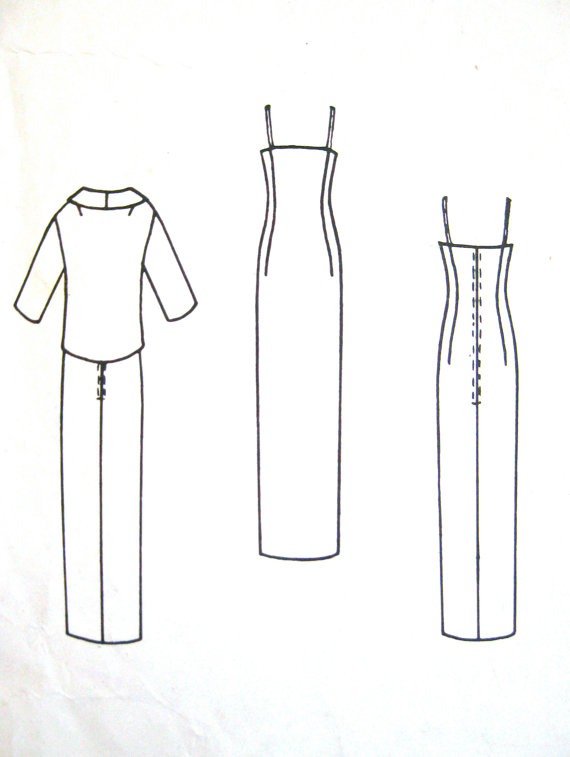 1960s STUNNING Cardin Evening Sheath Dress and Jacket Pattern VOGUE ...