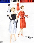 1950s Elegant PATOU Suit and Blouse Pattern Vogue Paris Original 1464 Lovely Cocktail Evening Fitted Blouse Barrel Shape Skirt and Fitted Short Jacket Easy Elegance Bust 32 Vintage Sewing Pattern