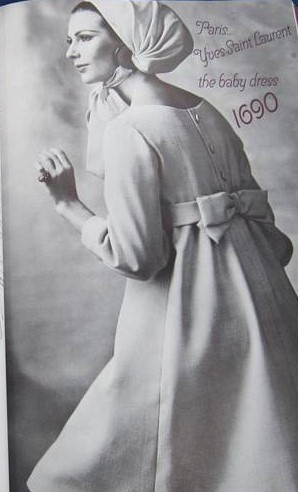 1960s Lovely Yves Saint Laurent Empire Baby Doll Dress Pattern Vogue