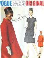1960s MOD Yves Saint Laurent Dress and Coat Pattern VOGUE Paris Original 1721 Fabulous Coat and Belted Dress Bust 32 Vintage Sewing Pattern