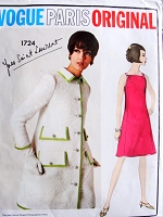RARE 60s Mod Yves Saint Laurent Dress and Coat Pattern VOGUE Paris Original 1724 Fab Design B 31 Vintage Sewing Pattern + Vogue Label
