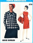1960s MOD Stylish Slim Empire Dress and Jacket Pattern VOGUE AMERICANA 1776 Chuck Howard Designer Bust 32 Vintage Sewing Pattern