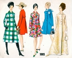 1960s MOD Day or Evening Coat In 3 Lengths Pattern VOGUE Basic Design 1885 Mini Midi and Maxi Evening Coats Bust 34 Vintage Sewing Pattern