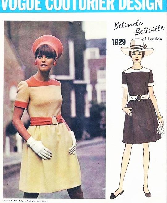 1960s Cute Mod Belinda Bellville Dress Pattern Vogue Couturier