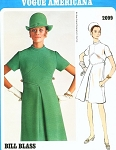 1960s Classy Bill Blass A Line Dress Pattern Vogue Americana 2099 Front Inverted Pleat Bust 38 Vintage Sewing Pattern
