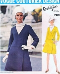 1960s STYLISH Galitzine Side Wrap Coat Dress and Sleeveless Blouse Pattern VOGUE COUTURIER DESIGN 2159 Classy Day or Dinner Dress Bust 34 Vintage Sewing Pattern FACTORY FOLDED + Label