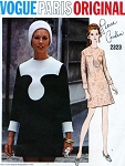 MOD 60s Pierre Cardin Mini Dress Pattern VOGUE PARIS ORIGINAL 2323 Striking Day or Cocktail Party Dress Bust 32 Vintage Sewing Pattern