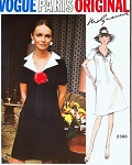 1970s MOLYNEUX Lovely Dress Pattern VOGUE PARIS Original 2398 V Neckline A Line Lovely Notched Collar Bust 32 Vintage Sewing Pattern