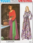 1970s Vogue Paris Original 2611 Pattern Lanvin Hip Maxi Peasant Boho Style Dress Scoop Neck Evening or Lounging Bust 32.5 Vintage Sewing Pattern UNCUT
