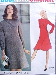 1970s  Stylish PATOU Bias Seam Dress Pattern VOGUE PARIS Original 2754 Size 8 Vintage Sewing Pattern
