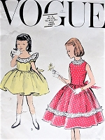 1950s Vintage ADORABLE Girl's Dress in Two Styles Vogue 2765 Sewing Pattern Chest 22