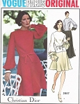 70s DIOR Day Dress or Evening Gown Pattern VOGUE Paris Original 2857 Flirty Flippy Skirt, Full Sleeves Bust 34 Vintage Sewing Pattern FACTORY FOLDED