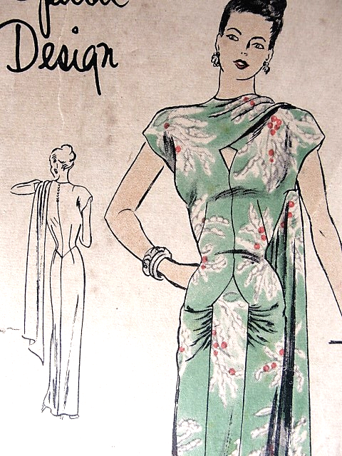 1940s GORGEOUS Evening Gown Pattern Rare VOGUE Special Design 4765 ...