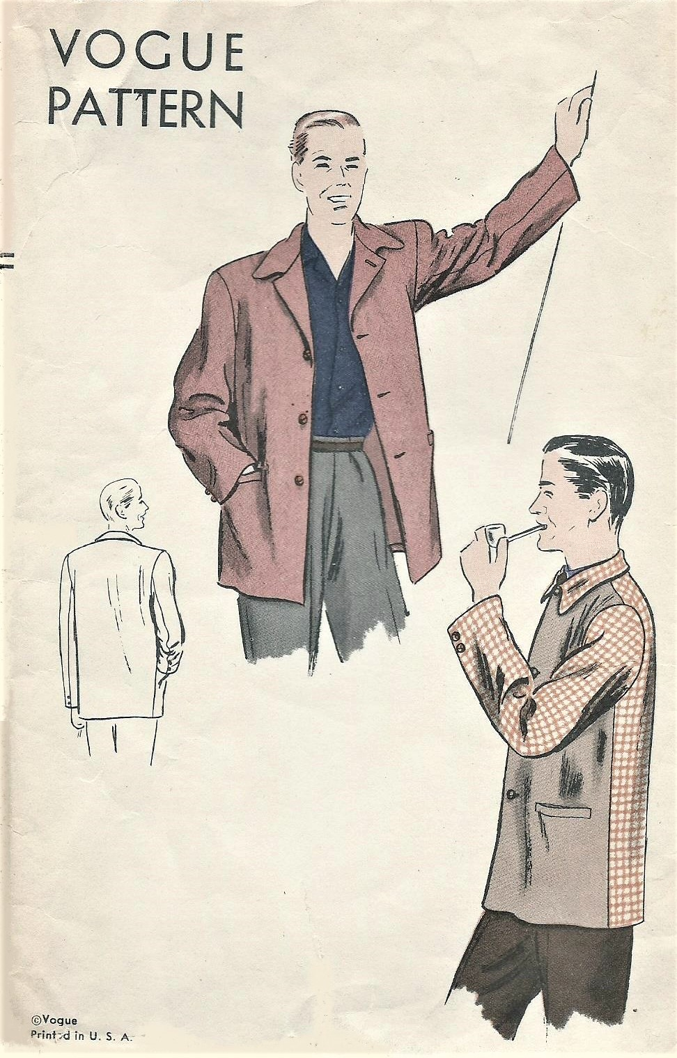 1940s Gentlemens Classic LEISURE JACKET Pattern VOGUE 5118 Casual or ...