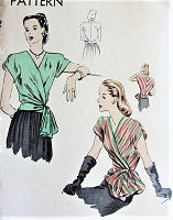 1940s LOVELY Wrap Around Surplice Blouse Pattern VOGUE 5294 Day or Evening Wear Large Chou Bow Easy To Make Bust 34 Vintage Forties Sewing Pattern