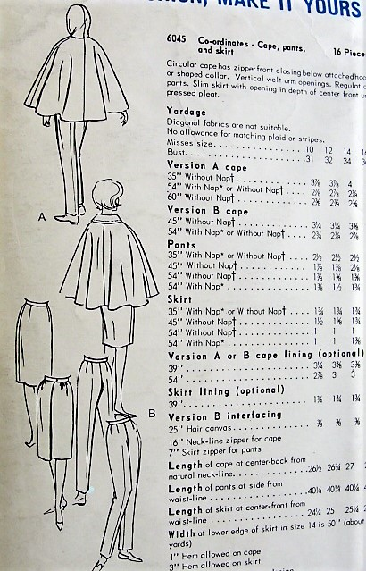 1960s CLASSY Co Ordinates Pattern VOGUE 6045 Circular Cape Coat With ...