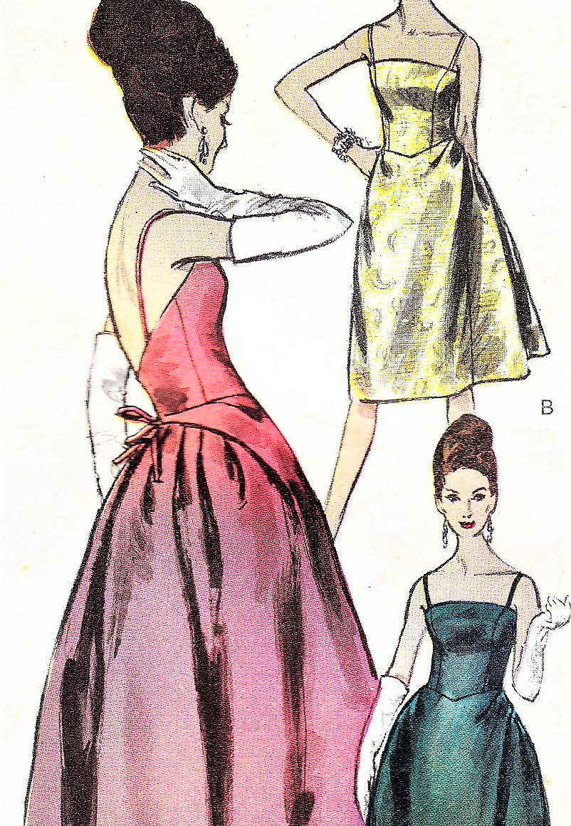 1960s GLAMOROUS Evening Gown Cocktail Dress Pattern VOGUE ...