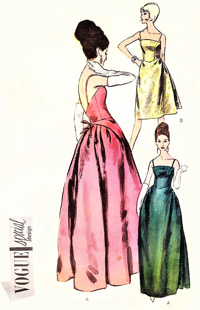1960s Glamorous Evening Gown Cocktail Dress Pattern Vogue