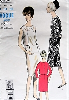 Vintage 1960s HAUTE One-Piece Dress with Two-Piece Effect Vogue 6653 Sewing Pattern Bust 34