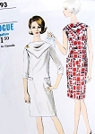 60s MOD Slim Dress Pattern VOGUE 6693 Bias Scarf Type Yoke Day or After 5 Dress  Bust 31 Vintage Sewing Pattern