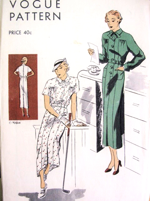 1930s Tailored Dress Frock Pattern Vogue 6785 Easy To Make Stylish