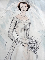 1950s GLAMOROUS Wedding Gown Bridal Dress or Evening Dress Pattern VOGUE Couturier Design 704 Beautiful Design includes Headband Bust 30 Vintage Sewing Pattern
