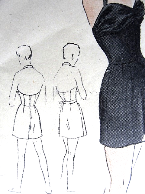 1950s GLAMOROUS Bathing Suit and Tie on Skirt Pattern VOGUE 7095 ...