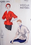 1950s Short Belted Coat Jacket Pattern Vogue 7098 V Neckline Surplice Closing Stylish Day or Evening Medium Size Vintage Sewing Pattern