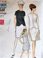 Vintage 1960s MOD Fitted Dress With or Without Contrasting Skirt Vogue 7282 Sewing Pattern Bust 34
