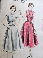 1950s Vintage CLASSY Four-Piece Flared Skirt with Peter Pan Collar Dress Vogue Pattern 7359 Sewing Pattern Bust 32