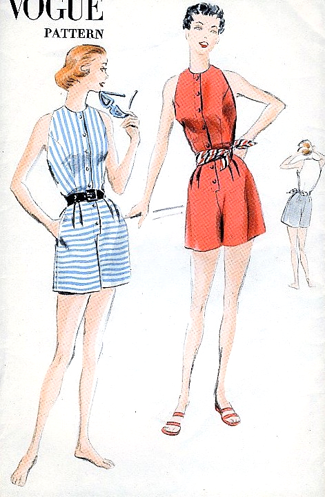 1950s LOVELY Playsuit Beachwear Pattern VOGUE 7668 Classy Beach ...