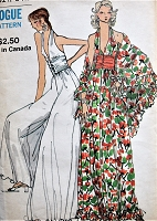 1970s FABULOUS Evening Dress or Pantdress and Shawl Pattern VOGUE 8310 PLUGING Neckline Halter Top Floor length Cocktail Party Palazzo Pants Jumpsuit Bust 32 Vintage Sewing Pattern FACTORY FOLDED