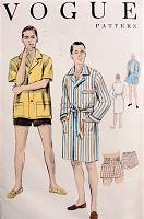 1950s VINTAGE Men's Robe, Beach Coat, and Swimming Trunks Vogue 8624 Sewing Pattern Chest 38-40