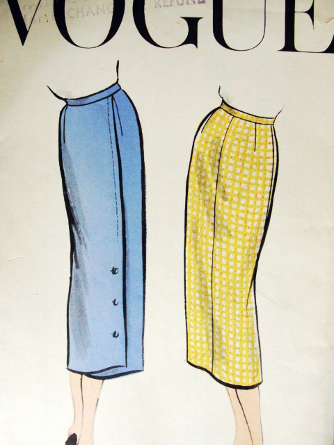 1950s Classy Slim Skirt Pattern Vogue 9191 Slim With Or Without