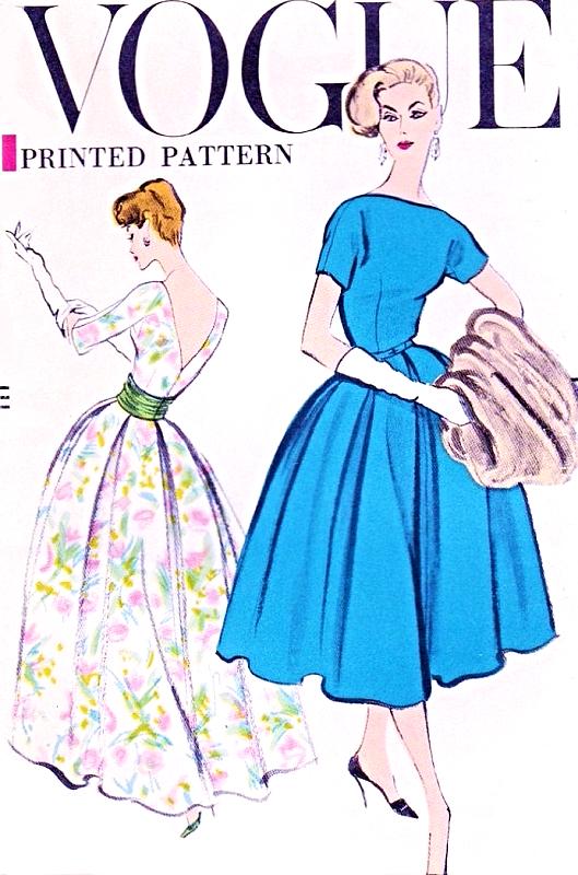 """Vintage 1950/'s Sewing Pattern Vogue V-Neck Dress Bust 34/"""""""