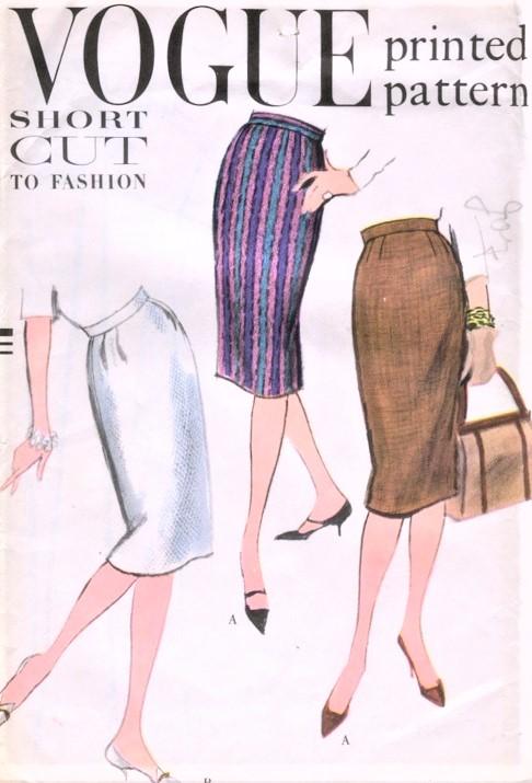 1950s CLASSIC Slim Easy To Sew Skirt Pattern VOGUE 9593 Waist 26 ...