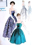 1950s DREAMY Evening Dress Pattern VOGUE 9606 Beautiful Design in Evening Gown or Cocktail  Lengths Bust 34 Vintage Sewing Pattern