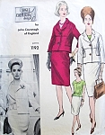1960s Classy Three Pc Suit Pattern Vogue Couturier Design 1192 Features John Cavanagh  Slim Skirt Suit and Overblouse  Bust 34 Vintage Sewing Pattern